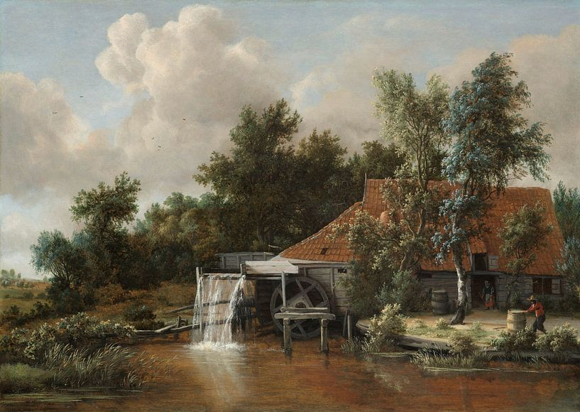 Wassermühle - Meindert Hobbema von Meesterlijcke Meesters