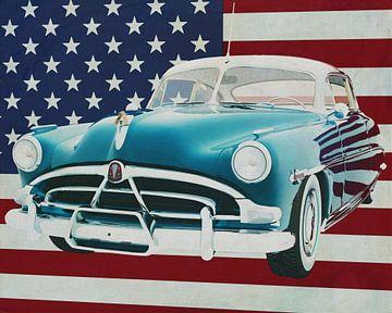 Hudson Hornet Coupé 1953 met vlag van de V.S.