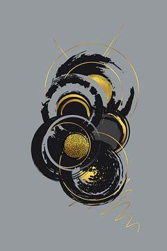 Dynamische Kunst Nr. 7 gold - Kreislauf des Lebens von Melanie Viola