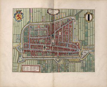 Delft, Stadsplattegrond Joan Blaeu 1652 van Atelier Liesjes