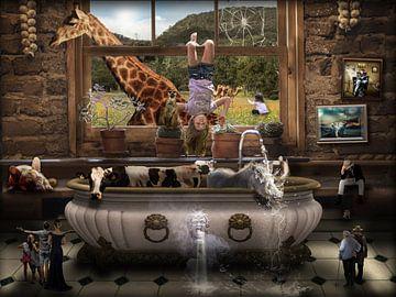 Sammlung von verrückten Tierteilen in einem Bad in einem Raum