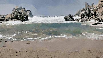 Kust met Strand, Branding en Rotsen - Sardinië - Capo Testa - Schilderij
