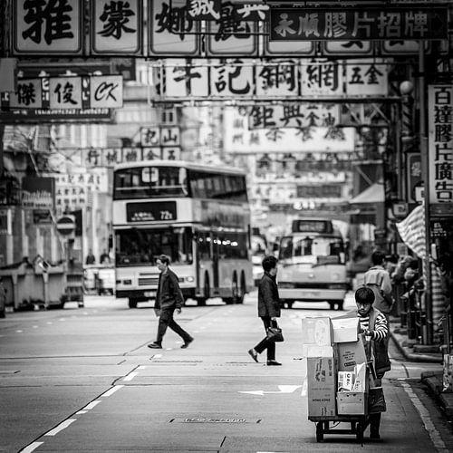 Man met handkar, Hong Kong, China