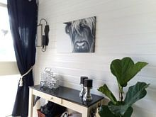 Klantfoto: Portret Schotse Hooglander zwart-wit van Sandra van Kampen, op canvas