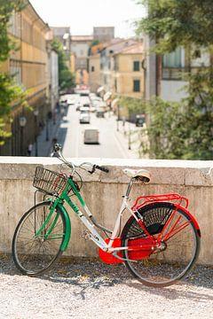 Fiets in de kleuren van de Italiaanse vlag in Lucca van