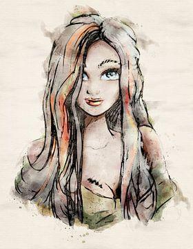 Digital koloriertes Porträt einer jungen Frau im Aquarellstil von Emiel de Lange