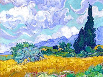 Weizenfeld mit Zypressen - Vincent van Gogh - 1889 von Jan Willem van Doesburg