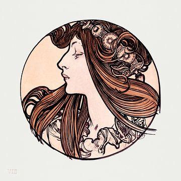 Dame, mit Kamelien, Sarah Bernhardt,Alphonse Mucha, (1897)