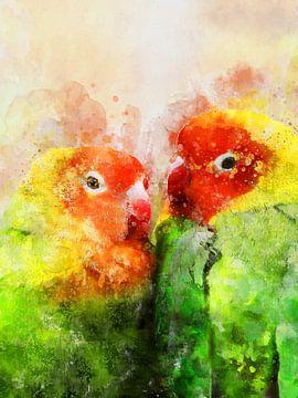 Papageien Liebesvögel von Printed Artings