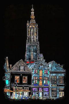 Onze Lieve Vrouwetoren in Amersfoort by night (kunst) van Art by Jeronimo