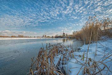 La neige au moulin à vent de Vrijheid Beesd sur Moetwil en van Dijk - Fotografie