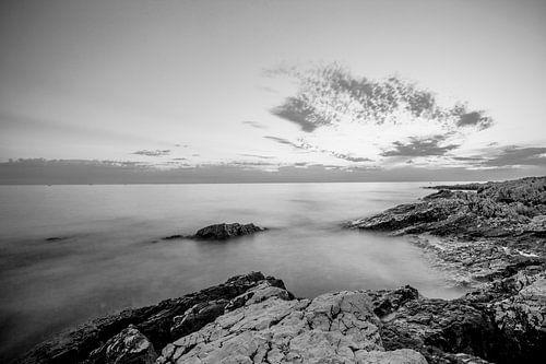 Zwart Wit Zonsondergang Kroatië  van