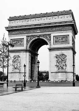 Arc de Triomphe, Parijs, Frankrijk/ zwart-wit van Lorena Cirstea