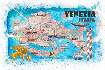Venise Italie Carte illustrée avec les principales curiosités et les points forts des canaux sur Markus Bleichner