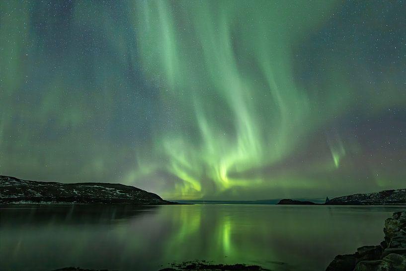 Noorderlicht op Kvaløya nabij Tromsø von Nathalie Daalder