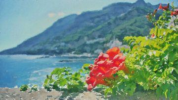 Hibiskusrose an der Amalfiküste in Italien - Gemälde von Schildersatelier van der Ven