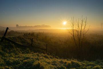 Zaun Sonnenaufgangsnebel von Willian Goedhart