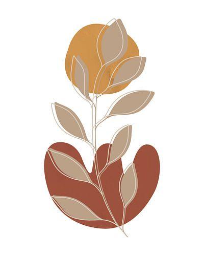 Minimalistisch landschap met een bladplant en twee vormen