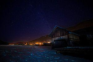 Boathouse under Milky Way, Weissensee, Austria.