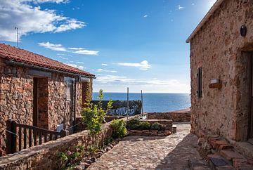 Uitzicht op zee vanaf het dorp Girolata op Corsica van Martijn Joosse