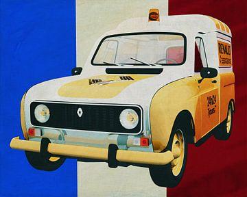 Renault R4 F4 1970  Assistance met Franse vlag