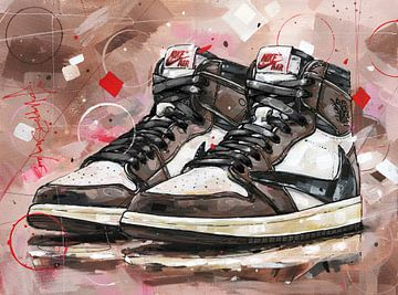 Peinture Nike air jordan 1 retro high Travis Scott sur Jos Hoppenbrouwers