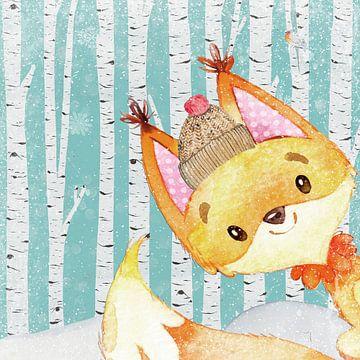Vos in een winterbos - Illustratie van Uta Naumann