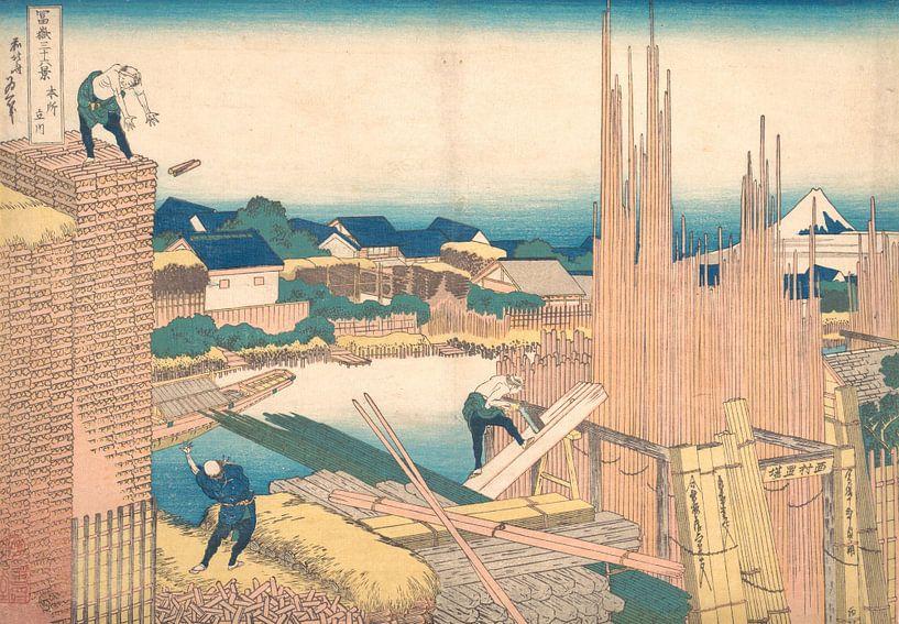 Tatekawa in Honjō, Katsushika Hokusai von Meesterlijcke Meesters