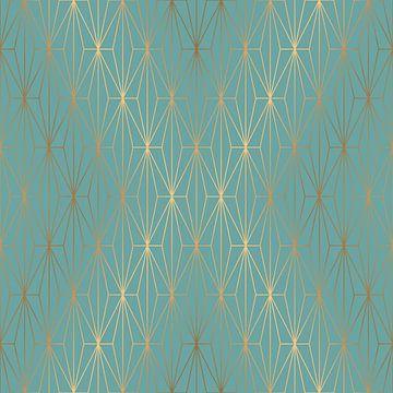 ELEGANT BLUE GOLD PATTERN v3 van Pia Schneider