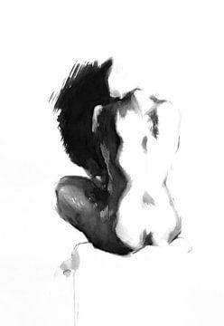 Zittend vrouwelijk naakt van Anny Body