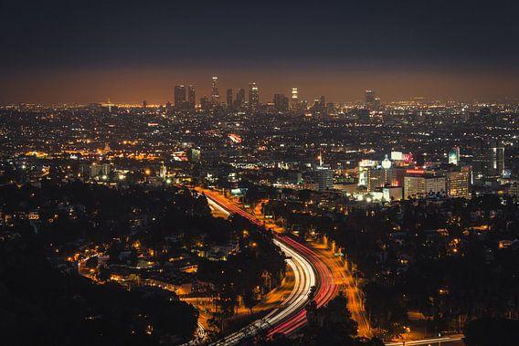 Los Angeles Skyline van Edwin Mooijaart