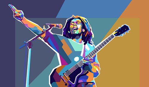 Bob Marley Pop Art Schilderij Reggae & Dreadlocks van Kunst Company