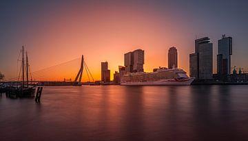 De P&O Britannia tijdens zonsopkomst in Rotterdam van