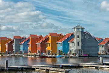 Bunte Häuser in Reitdiephaven von Richard van der Woude