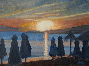 Sonnenuntergang in Naxos Gr. von Antonie van Gelder Beeldend kunstenaar