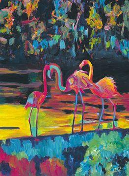 Flamingos im Stil des Impressionistischen Expressionisten Phoenicopterus Roseus von Markus Bleichner