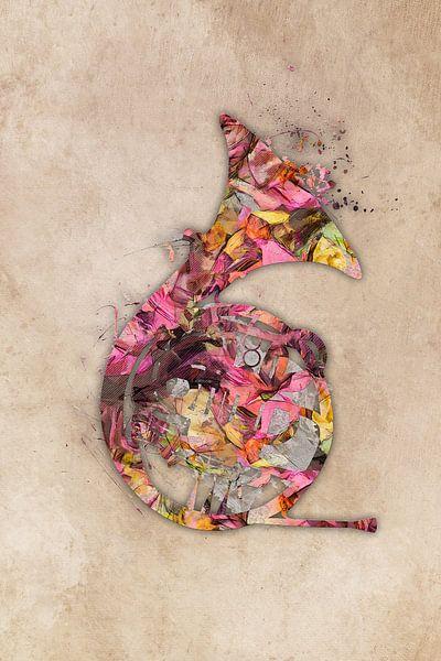 franse hoorn 3 muziekkunst #frenchhorn #muziek van JBJart Justyna Jaszke