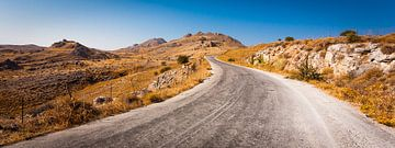 Kronkelig bergweggetje op Lesbos van Victor van Dijk