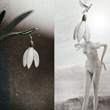 Mannequin met de sneeuwklokjes van Monique Holterman