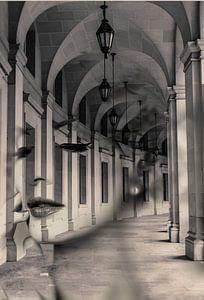 Arch lady. Double exposure portrait