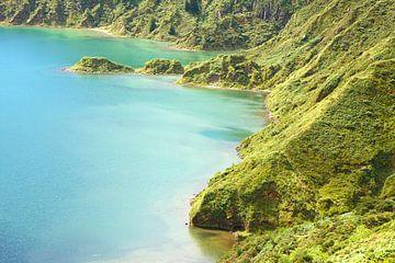 Blauer grüner Vulkankrater von Jan Brons