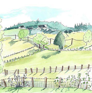 Illustration der französischen Landschaft von Ivonne Wierink