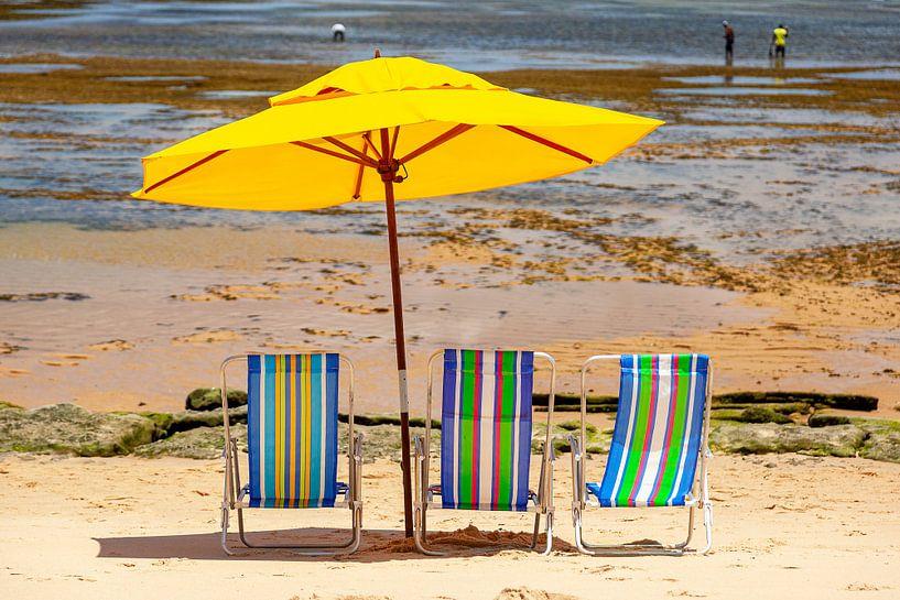 Strandstoelen & een parasol op het strand van de Atlantische kust in Bahia, Brazilie. van Eyesmile Photography