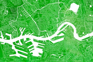 Rotterdam | Carte de la ville Aquarelle verte sur - Wereldkaarten.shop -