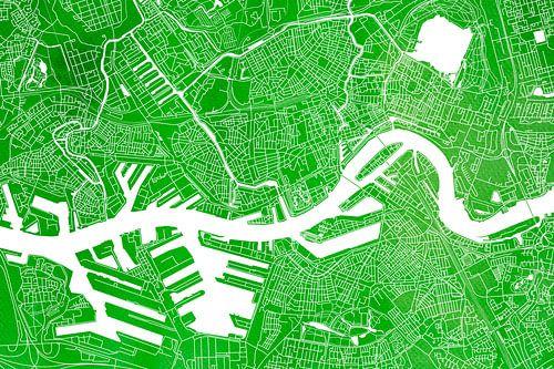 Rotterdam | Stadskaart Groen Aquarel van - Wereldkaarten.Shop -