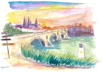 Jakobsweg nach Santiago Puente de La Reina mit Wegweiser von Markus Bleichner