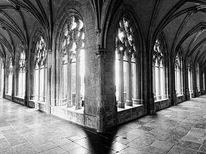 Utrecht, Pandhof van de Domkerk in zwart/wit en symmetrisch