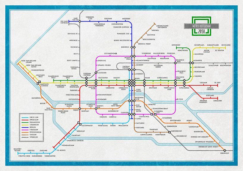 Metrokaart Rotterdam 2050 van Frans Blok