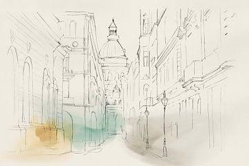 Stad Sketches I, Isabelle Z  van PI Creative Art
