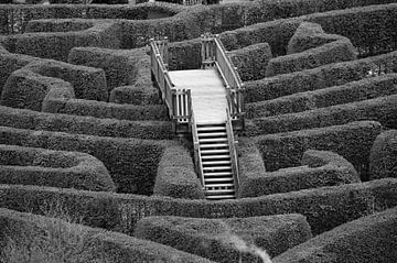Bruggetje in ouderwets doolhof, zwart wit foto van Patrick Verhoef
